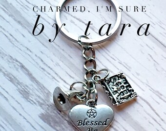 Wiccan keychain/ blessed be/ witch