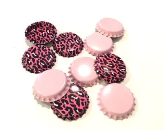 10 pieces pink and pink leopard fashion bottle cap jewelry making pendant trays