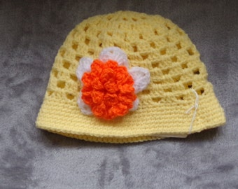 Yellow Crochet Baby Hat with Flower