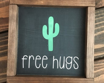 Free hugs cactus wood painted sign cactus sign
