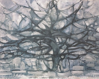Piet Mondrian print - The grey tree vintage - museum poster offset lithograph