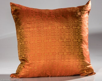 Jim Thompson Designer pillow, designer throw pillow, rust color sofa pillow, toss pillow, high end pillow