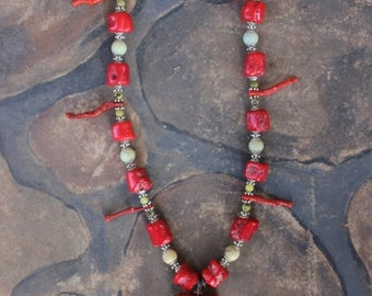 Coral & Soapstone Necklace