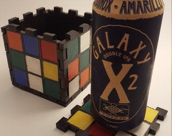 Wooden Rubix Cube Coaster Set