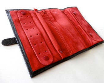 Vintage Black Leather Tool Case with Red Suede inlay.
