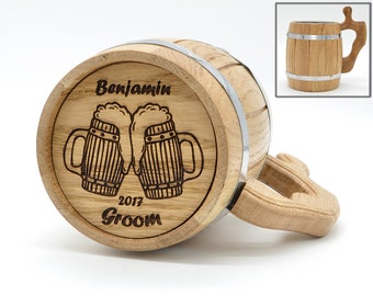 Personalized Groomsmen gift, Groomsman wooden beer mug, Groomsman gift, Personalized Best Man Gift, Grooms gift, Personalized wedding gift