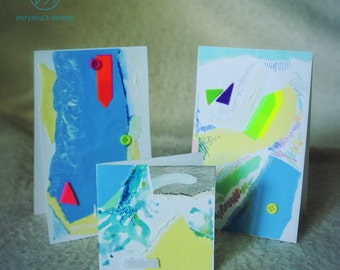 Marine moments, set of 3 handmade paper postcards, painted cardboard, collage, soft blue, abstract forms