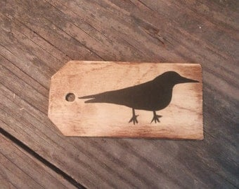 primitive crow wooden gift tag