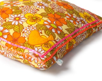 Soft retro 70s flannel pillow cover