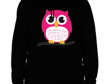owl hoodie owl sweatshirt men's women's black cotton viscose christmas