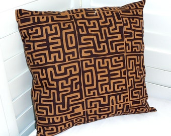 Pillow Cover, Throw Pillow Cover, Decorative Pillow Cover, Cotton Print Fabric, Dark Brown Tan African Print
