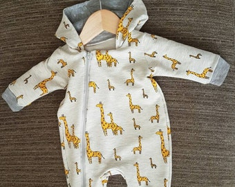 Baby suit, with hood and zip
