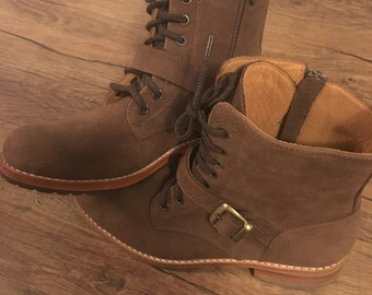 Brown Leather Combat Boots (Size 8)