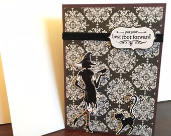 Put Your Best Foot Forward Witch Halloween card