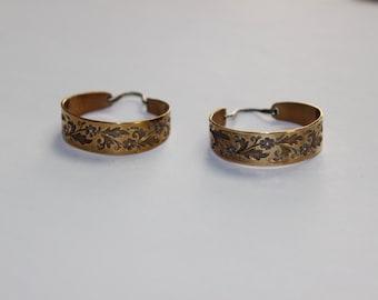Ed Levin Earrings Vintage Brass Floral Design