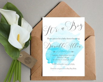 Printable Baby Shower Invitation - Boy Baby Shower - It's a Boy Shower Invitation - Watercolor Baby Shower - Blue and Gray - Customized