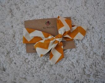Mustard Chevron Print Baby Headwrap