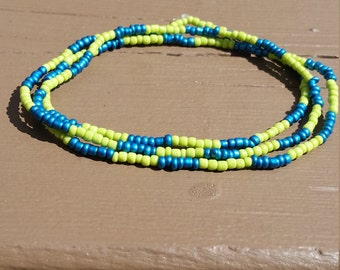 Blue and green wrap bracelet