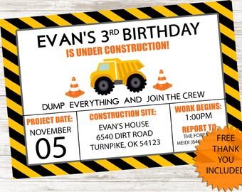 Construction Truck Invitation Invite Birthday Party Kids 5x7 Digital Personalized