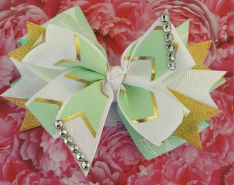 Hair Bow, Mint and gold