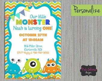DIGITAL FILE, Monster Invitation, Monster Invite, Monster Birthday, Monster Party, Monster, First Birthday, Second Birthday, Birthday Party