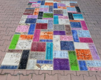 8.6'' x 5.6'' Vintage Rug Collage.  Multicolor - Color Palette.Vintage Patchwork Rug . Patchwork Carpet , Multicolor Carpet