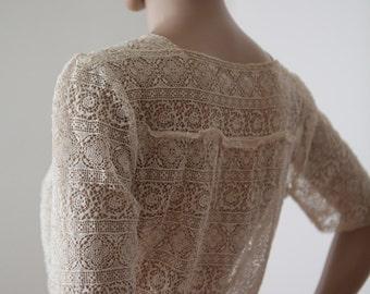 Cream Lace Blouse 1920s 1930s Women's Handmade