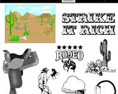 Western Clip Art - Rodeo Clip Art - 10 PNG Images - Commercial Use