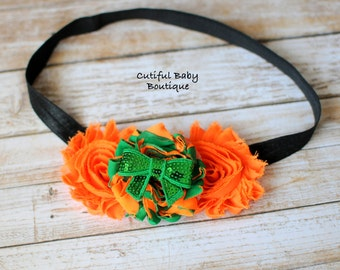 ON SALE!! Orange, Black, Green Shabby Flowers Headband, Fold Over Elastic Headband, Baby Headband,