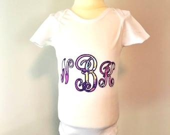 Vine Monogram Applique Onesie - Personalized Embroidered Boy or Girl