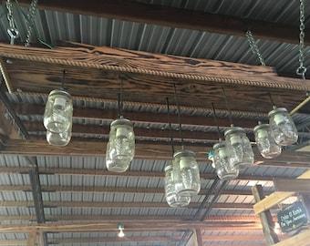 10 Bulb Mason Jar Chandelier