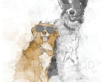 Custom Dog Portrait for Multiple Dogs