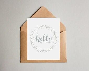Hello Beautiful Hand Drawn Greeting Card