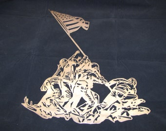 Iwo Jima Flag Raising Metal Wall Art Decor
