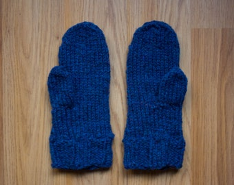 Kid's Wool Mittens Gloves, Bobble Cuff, Snow Gloves/Mittens, Blue Royal Irish Wool, Made in USA