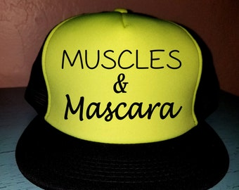 Muscles and Mascara Trucker Hat Gym Hat Workout Hat Exercise Hat Custom Trucker Hat Cute Tucker Hat Funny Trucker Hat
