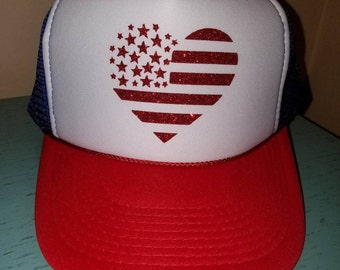 American Flag Heart Trucker Hat Snapback Hat Heart Flag Trucker Hat USA America Trucker Hats Red White and Blue Trucker Hat 4th of July Hat