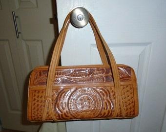 """Vintage """"Avelar"""" tooled leather handbag"""