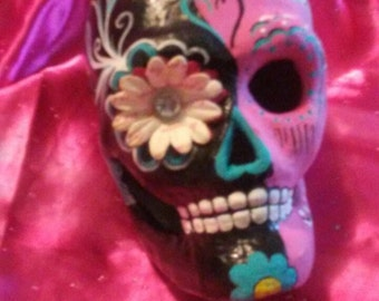 Hand painted day of dead sugar skull 6inch paper mache