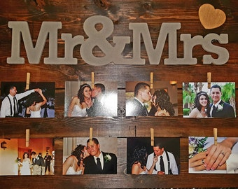 Rustic wedding picture frame , Rustic Wooden Picture Frame, Wedding Gift, Wedding Picture Display, Wall Decor, Home Decor, Wooden Picture