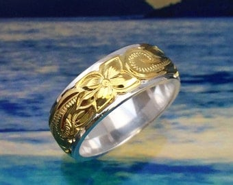 Sterling Silver & Yellow Gold Hawaiian Ring Band with Plumeria Design (R532)