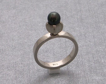 Ring Silver 925 with Black Pearl