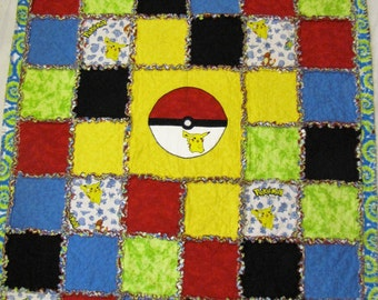 Pokemon Rag Quilt: Yellow, White, Red, Blue and Green