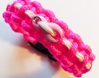 """Pink and White 1/2""""w Paracord Bracelet with Breast Cancer Awareness Ribbon Charm"""