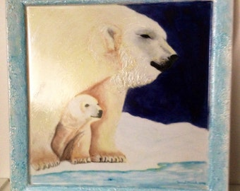 Polar bear mom and cub