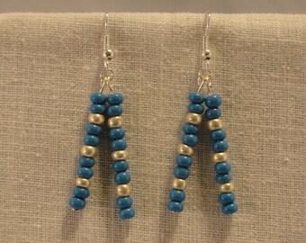 Detroit Lions Glass Bead Earrings.