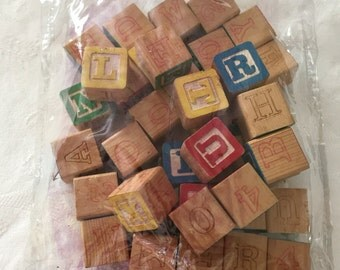 39 Educational Carved Wood Cubes