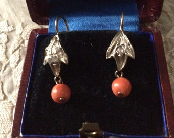 best price-c1800 ANTIQUE DIAMONDS CORAL Earrings - Gold and Silver - Old cut Diamonds Hand-carved antique from France