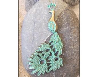 Patina Green Brass Peacock Pendant 43x95mm