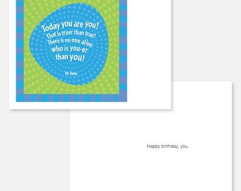 Birthday card with Dr. Suess quote